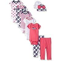 Gerber Baby Girls' 9-Piece Onesies Bodysuit, Pant and Cap Set