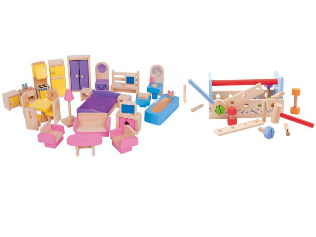 Wonderfully Detailed Wooden 45-Piece Toys Doll Home Furniture and Workbench