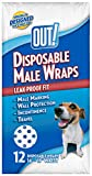 OUT! Pet Care Disposable Male Dog Diapers | Absorbent Male Wraps with Leak Proof Fit | XS/Small, 12 Count
