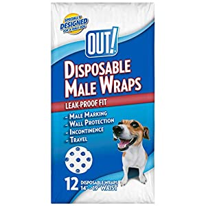 New title: OUT! Disposable Male Dog Diapers |  Absorbent Male Wraps with Leak Protection | Excitable Urination, Incontinence, or Male Marking