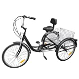"Iglobalbuy Black 6 Speed Three Wheel Adult Tricycle Trike 24"" W/ Large..."