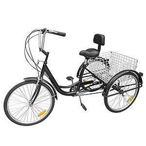 """Yonntech 24"""" Bici da Donna 3 Ruote per Adulti Triciclo Comfort Lady Girl Bici Sport Outdoor Bicicletta City 6 velocità Ingranaggi Cestino Incluso"""