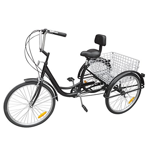 "Iglobalbuy Black 6 Speed Three Wheel Adult Tricycle Trike 24"" W/ Large Size Basket"