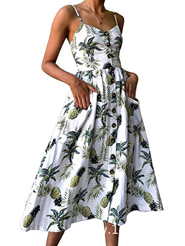 - SWQZVT Women's Dress Summer Spaghetti Strap Sundress Casual Floral Midi Backless Button Up Swing Dresses with Pockets White XL