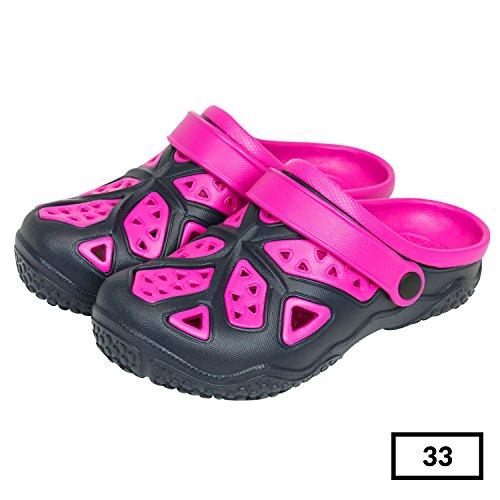Sabot zoccoli slip on ciabatte in materiale EVA per bambini, taglia 33, colore: blu / rosa