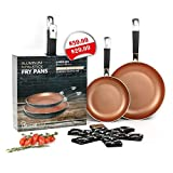 UrbanixChef Frying Pans . Superior German Greblon Non-stick Coating Copper Color. 2 Pcs - 8 and 10 Inch.100% PFOA Free,Induction Compatible , Oven Safe.  Bonus 3 pc.11 Inch Pan Protectors