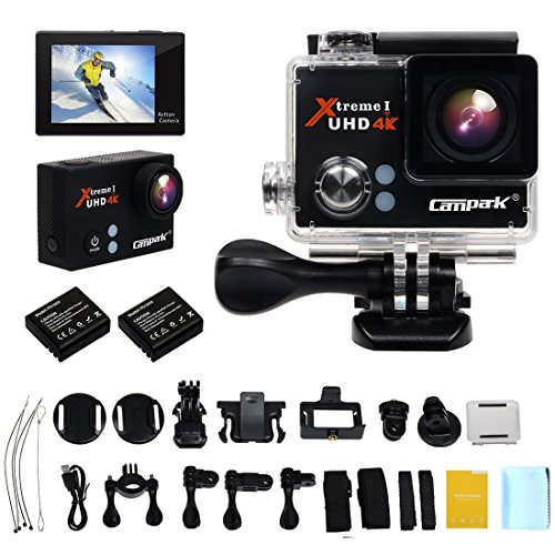 campark® Sport Kamera, 4 K 25 fps WiFi Aktion Camcorder mit 60 fps 1080P Halterung Burst Foto Time Lapse und Looping Video