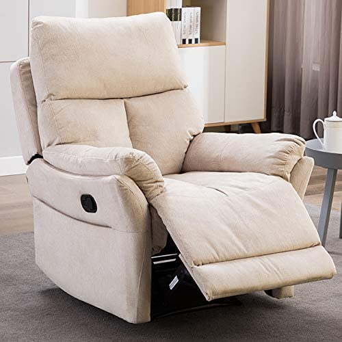 IOMOR Manual Fabric Recliner Chair, Soft Reclining Chair for Living Room Modern Sofa with Overstuffed Armrest and Back Beige