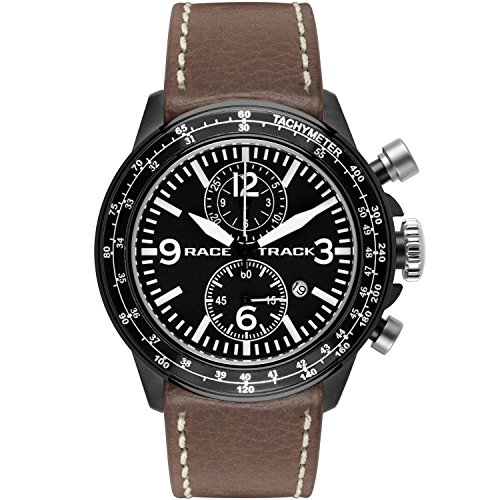 Glam Rock Men's Racetrack 46mm Brown Leather Band IP Steel Case Quartz Black Dial Analog Watch GRT29111F
