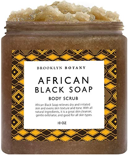 African Black Soap Body Scrub 10 oz - Shea Butter & Coconut Oil - Great To Exfoliate & Moisturize Skin, Reduce Inflammation, Relieve Dry & Irritated Skin - Eczema Soap Acne Treatment - Brooklyn Botany