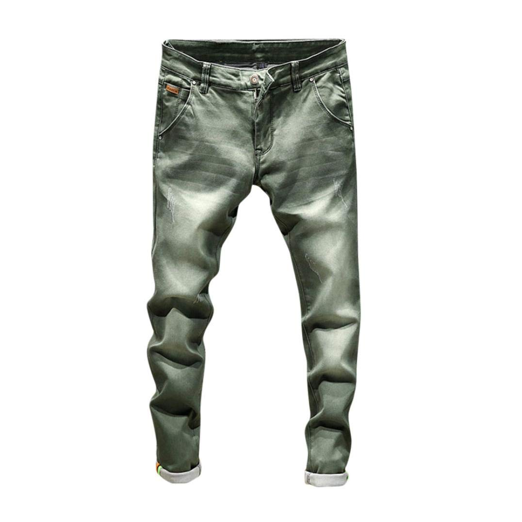 Realdo Hot!Clearance Sale!Mens Daily Casual Jeans, Vintage Wash Durable Work Trousers Jeans Pants (28,Green)