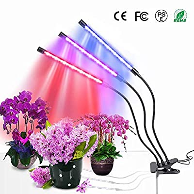 MOSUNECE Plant Grow Light with Timing Function, 3- Heads Adjustable Gooseneck Grow Lamp Bulbs, Auto Turn On Function for Indoor Plants Gardening Hydroponics