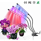 MOSUNECELED Grow Lights for Indoor Plants 30W Grow Lamp with Timer for Seedlings 3/6/12H Timer Auto Turn On Function 3 Heads Adjustable Gooseneck