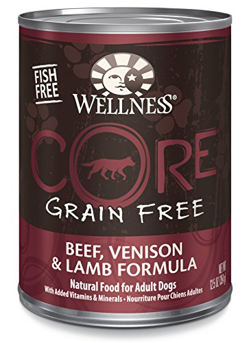 Wellness Core Natural Wet Grain Free Canned Dog Food, Beef, Venison & Lamb, 12.5-Ounce Can (Pack Of 12)