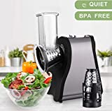 Professional Salad Maker Electric Slicer/Shredder with One-Touch Control and 4 Free Attachments for fruits, vegetables, and cheeses (Black&Silver)