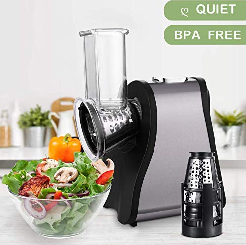 Professional Salad Maker Electric Slicer Shredder with One-Touch Control and 4 Free Attachments for fruits, vegetables, and cheeses Black Silver