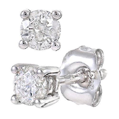 Revoni Bague en or blanc 9carats-Mesdames 30pt simple Pierre diamant Boucles d'oreilles