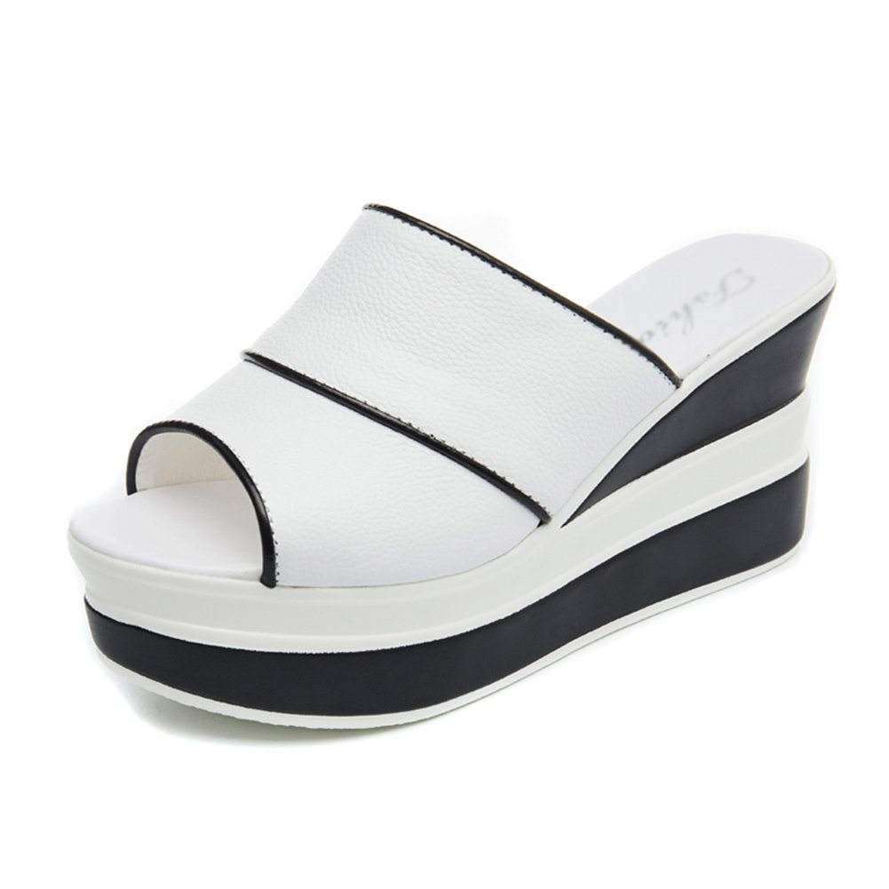 PENGFEI Pantofola Zapatillas Verano De Las Mujeres Fondo Grueso Cuña Moda Desgaste Exterior, Altura del Talón 9CM, 2 Colores (Color : Blanco, Tamaño : EU38/UK5.5/US7/240) EU38/UK5.5/US7/240 Blanco