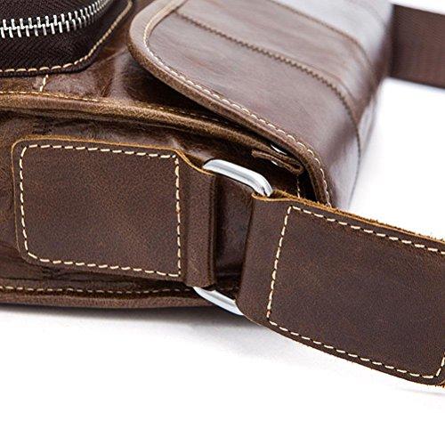 GTUKO Echtes Leder Männer Mode Schulter Crossbody Taschen Ledertasche Für Männer Messenger Bags 380 , Schwarz schwarz