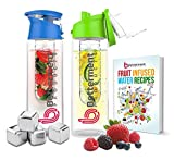 Betterment Products BPA Free Eastman Tritan Plastic Premium Sports Water Bottle With Fruit Infuser. In a Bundle 5 items 27oz Bottle (Blue or Green) & 4 Reusable Stainless Steel Water Chilling Cubes.