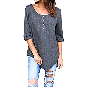 GAMISOTE Womens 3/4 Sleeve Tops Under 10 Dollors Casual Fall Button Tunics