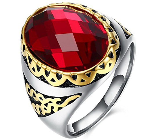 PSRINGS Rings With Onxy Red Garnet Natural Stone Ruby Rock Punk Ring 18K Gold Plated Large Red Stone Ring 9.0