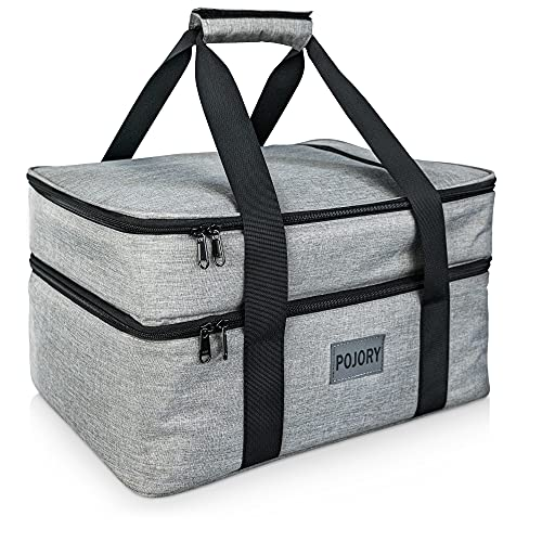 POJORY Insulated Casserole Carrier for Hot or Cold Food, Double Decker Casserole Dish Carrier Lasagna Holder Tote for Parties, Picnic, Potluck, Beach, Camping, Fits 9