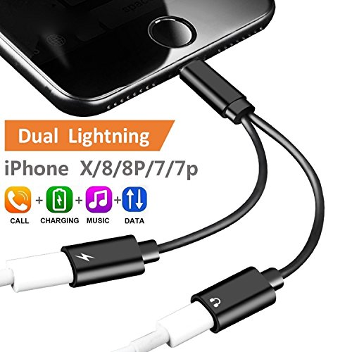 2-in-1 Lightning Splitter Adapter for iPhone X/8/8 Plus/7/7 Plus. Double Lightning Ports for Dual Lightning Headphone Audio & Charge Adapter. Compatible iOS 10 or Later.(Black)