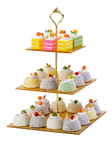 SinoAcrylic Strong Sturdy Golden Acrylic 3-Tier Square Cupcake Stand with Stable Screw - On Gold Pillars - Dessert Display Tower - Cupcake Tower (gold) Gold Flat Cake Plate
