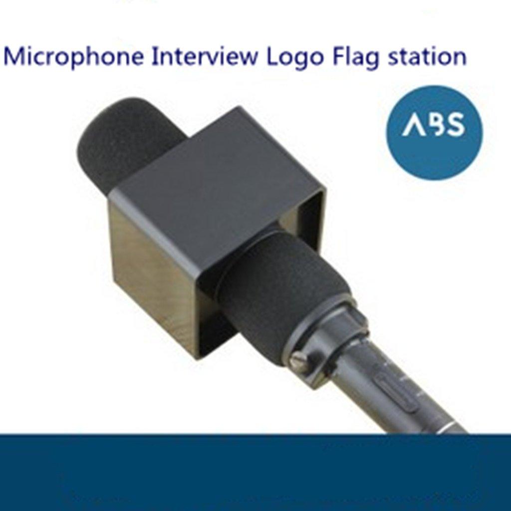 Sharplace Logotipo de Micr/ófono Cuadrado Logo Flag Station Entrevista Con 5Pcs Micr/ófono Foam Shield Cubierta