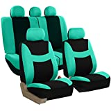 FH GROUP FH-FB030115-SEAT Light & Breezy Mint/Black Cloth Seat Cover Set Airbag & Split Ready- Fit Most Car, Truck, Suv, or Van