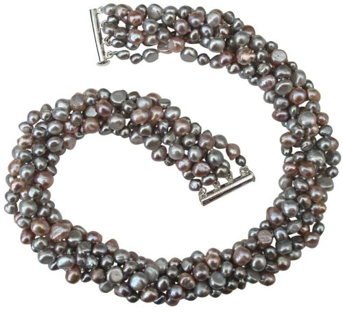 Striking Lilac/Silver Grey/Pink Baroque Cultured Pearl Six Strand Chunky 'Louisa' Necklace With Silver Clasp by Pearls Paradise (Image #1)