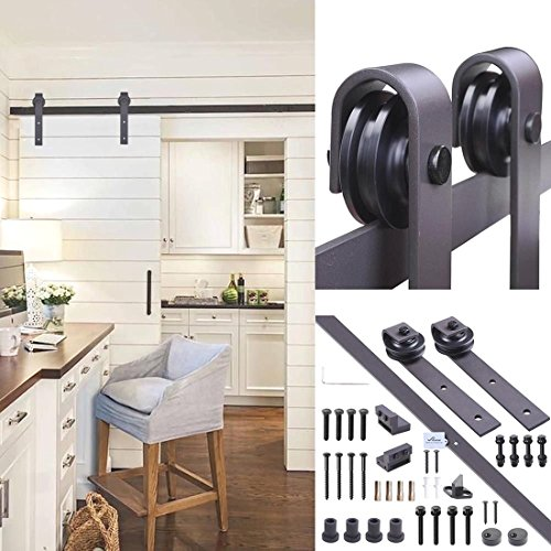 6FT Sliding Barn Wood Door Closet Hardware Track Set Dark Coffee Country - Styles Less Codes For Coupon
