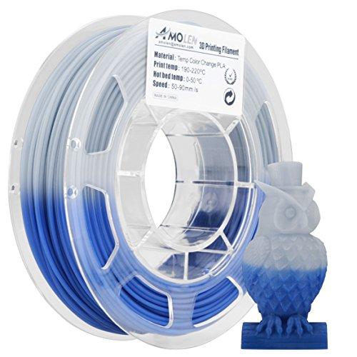 AMOLEN 3D Printer Filament, Temperature Color Change PLA Filament 1.75mm +/- 0.03 mm, 200G/0.44lb, Blue to White, includes Sample Temp Color Change Pink to White Filament - 100% USA