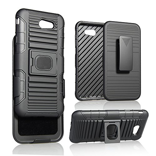 Galaxy J7 2017 Case, Customerfirst, BLACK RING GRIP CASE COVER + BELT CLIP HOLSTER STAND FOR SAMSUNG GALAXY J7 PERX/SKY PRO/J7V, J7 2017, J7 PRIME 2017, SM-J727 (Black) (Best Microphone For Youtube India)