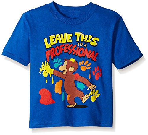 Curious George Little Boys' Toddler Short Sleeve T-Shirt, Royal Blue, - George Flower Curious