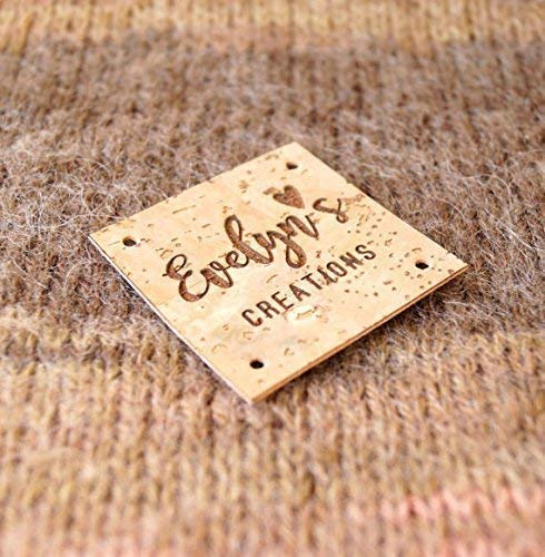 set of 25 pc Clothing labels CHOOSE your shape knitting labels logo labels cork leather labels custom labels size and design