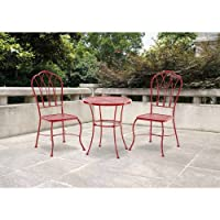 Harrison 3 Piece Chairs & Table Patio Furniture Bistro Set, Red, Seats 2 by Mainstays