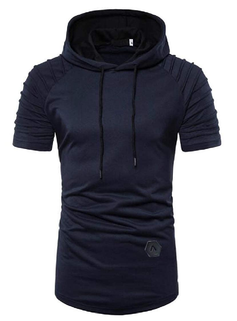 YYear Mens Short Sleeve Hooded Pullover Sweatshirts Solid Color Hip-hop Hipster Hooded T-Shirts Tops