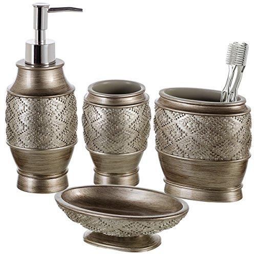 Dublin 4-Piece Bathroom Accessories Set - Includes Decorative Countertop Soap Dispenser, Dish, Tumbler, Toothbrush Holder, Resin Vanity Ensemble Set, Gift Boxed (Brushed Silver) (Resin Toothbrush Holder)