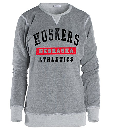 Official NCAA University of Nebraska Cornhuskers Lincoln UNL Huskers NU Women's Boyfriend Fit TriBlend Crew Neck Sweatshirt