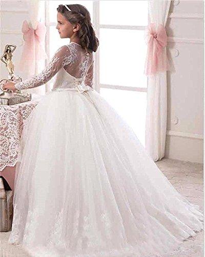 8827bd06b0755 VIPbridal Abiti maniche lunghe del fiore del merletto Ragazze comunione  abiti  Amazon.it  Abbigliamento