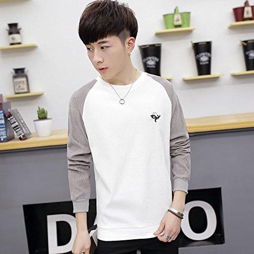 ZHENN-Mens Long Sleeve T-shirt shirt round neck sweater slim Korean spring tide of youth clothes,M,gray
