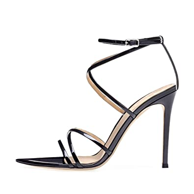 749880a5e13 onlymaker Women s Sexy Ankle Strap Gladiator Stilettos Pointed Open Toe  High Heels Sandals Black Size 10