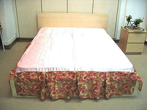 Sunrise Skirt (DaDa Bedding Sunrise Hibiscus Bed Skirt Dust Ruffle, Shiny Decorative Floral, Pink & Tan, Queen)
