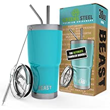BEAST 30 oz Tumbler Stainless Steel Insulated Coffee Cup with Lid, 2 Straws, Brush & Gift Box by Greens Steel (30oz, Aquamarine Blue)