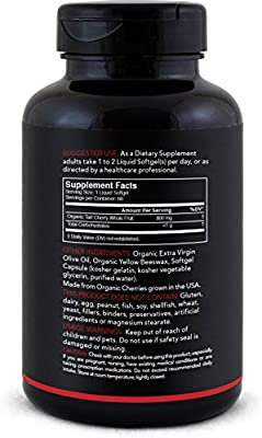 Tart Cherry Concentrate - Made from Organic Cherries; Non-GMO & Gluten Free (60 Liquid Softgels)