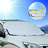Cosyzone Car Windshield Sunshade Protector Snow Cover with Magnetic Edges Keeps Car Cooler & Snow Off Fits for Most Vehicle