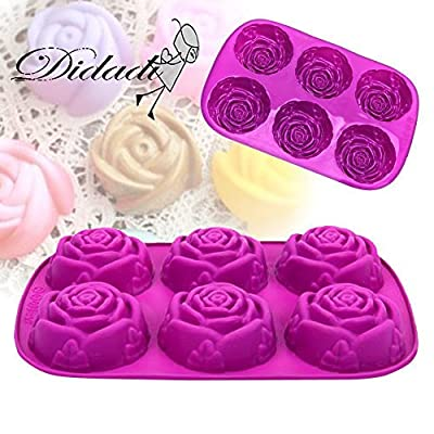 6 Cavity Rose Flower Candy Treats Cake Maker Mold. Chocolate Soap Mold. Baking Pan, Bake ware - Food Grade Silicone. By DidaDi Color: Violet Purple