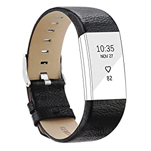 POY Replacement Bands Compatible for Fitbit Charge 2, Genuine Leather Wristbands